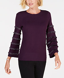 Alfani Tiered Fringe Pullover, Created for Macy's