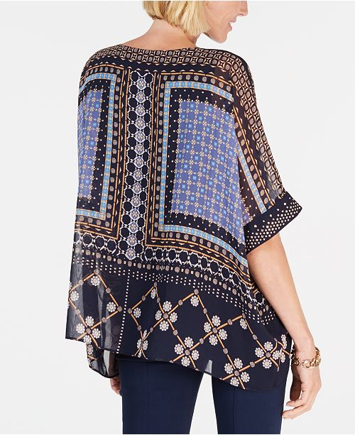 22c9ad65ede JM Collection Printed Embellished Poncho Top