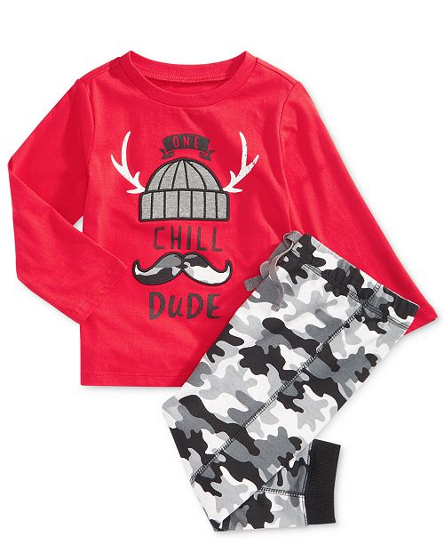 129372880 First Impression Baby Boys Chill Dude T-Shirt & Camo-Print Jogger Pants  Separates, Created for Macy's