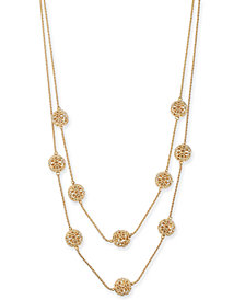 "Charter Club Gold-Tone Pavé Filigree Ball Double-Row Necklace, 20"" + 2"" extender, Created for Macy's"