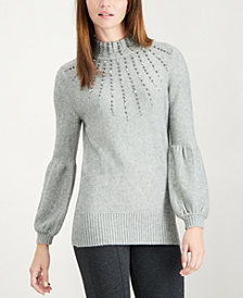 Alfani Petite Beaded Balloon-Sleeve Sweater, Created for Macy's