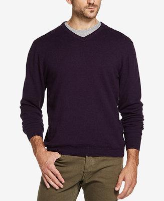 Weatherproof Vintage Men's Cotton Cashmere V Neck Sweater