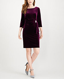 Jessica Howard Velvet Embellished Sheath Dress