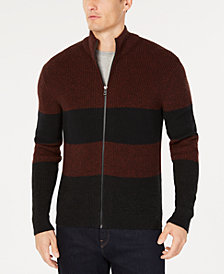 Michael Kors Men's Striped Zip-Front Sweater