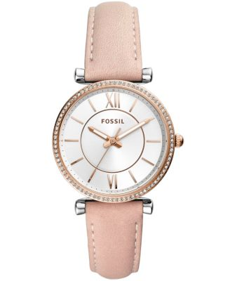 Women's Carlie Mini White Leather Strap Watch 28mm