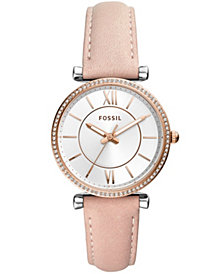Fossil Women's Carlie Blush Leather Strap Watch 35mm