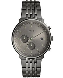Fossil Men's Chronograph Chase Timer Smoke Stainless Steel Bracelet Watch 42mm