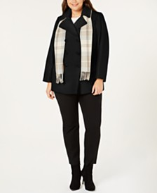 London Fog Plus Size Double-Breasted Peacoat & Scarf