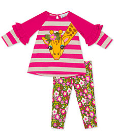 Rare Editions Baby Girls 2-Pc. Giraffe Tunic & Printed Leggings Set