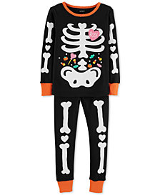 Carter's Baby Girls 2-Pc. Skeleton Glow In The Dark Cotton Pajamas Set