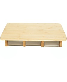 Mind Reader Bamboo Heavy Duty Wooden Cutting Board with 3 Acrylic Drawers, Brown