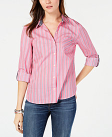 Tommy Hilfiger Striped Button-Front Shirt, Created for Macy's