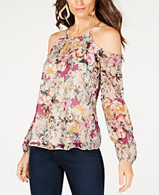 Thalia Sodi Chain-Strap Cold-Shoulder Top, Created for Macy's