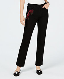 Charter Club Embroidered Lexington Straight-Leg Jeans, Created for Macy's