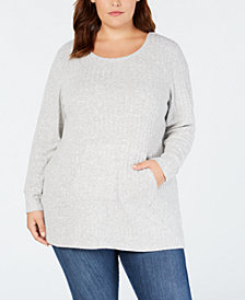 Style & Co Plus Size Ribbed-Knit Sweater, Created for Macy's