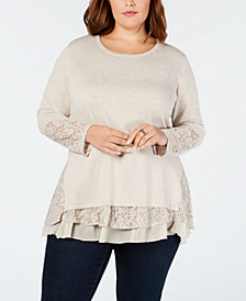 Style & Co Plus Size Lace-Trimmed Ruffled Sweater, Created for Macy's