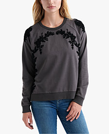 Lucky Brand Floral Chenille Sweatshirt