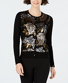 Charter Club Floral Sequin Party Cardigan, Created for Macy's