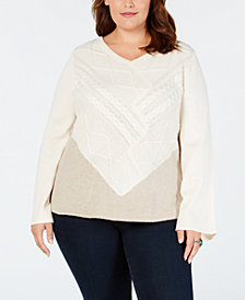 Style & Co Plus Size V-Neck Mixed-Stitch Sweater, Created for Macy's