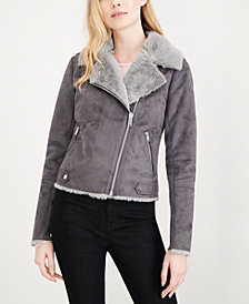 Maison Jules Faux-Suede Faux-Fur Moto Jacket, Created for Macy's