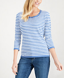 Karen Scott Petite Striped Grommet Sweater, Created for Macy's