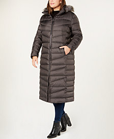 Calvin Klein Plus Size Faux-Fur-Trim Hooded Maxi Coat