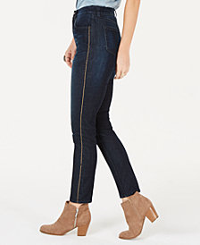 Style & Co Petite Chain-Embellished High-Rise Skinny Jeans, Created for Macy's