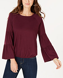 Style & Co Bubble-Hem Bell-Sleeve Top, Created for Macy's