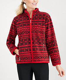 Karen Scott Printed Fleece Jacket, Created for Macy's