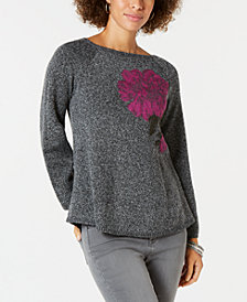 Style & Co Floral Jacquard Sweater, Created for Macy's