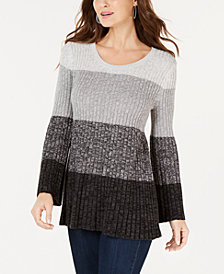 Style & Co Petite Colorblocked Sweater Tunic, Created for Macy's