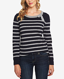 CeCe Cotton Striped Bow-Neck Sweater