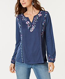 Style & Co Floral-Embroidered Top, Created for Macy's