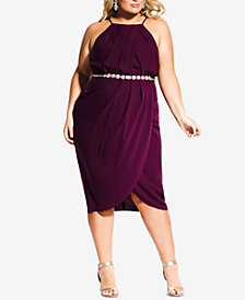 City Chic Plus Size Belted Faux-Wrap Dress
