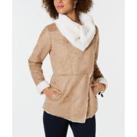 Macys deals on Style & Co Faux-Suede Faux-Fur Drape Coat