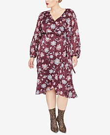 RACHEL Rachel Roy Trendy Plus Size Floral-Print Wrap Dress