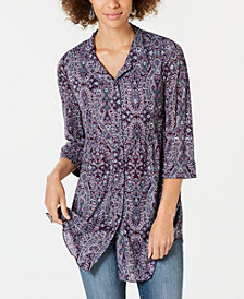 Style & Co Petite Printed Button-Up Shirt, Created for Macy's