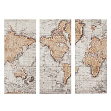 Madison Park Map of the World Printed Canvas, Set of 3