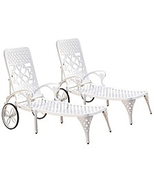 Biscayne White Chaise Lounge Chairs (2)