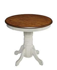 "French Countryside 42"" Round Oak and Rubbed White Pedestal Table"