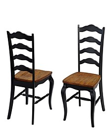 The French Countryside Oak and Rubbed Black Dining Chair, Pair