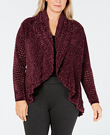 JPR Plus Size Open-Front Chenille Cardigan