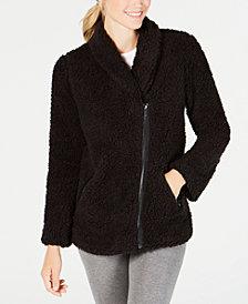 Ideology Asymmetrical-Zip Fleece Jacket, Created for Macy's