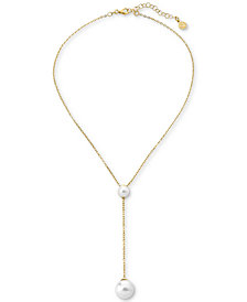 "Majorica Gold-Tone Sterling Silver Imitation Pearl Lariat Necklace, 18"" + 3"" extender"