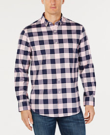 Club Room Men's Herringbone Plaid Pocket Shirt, Created for Macy's