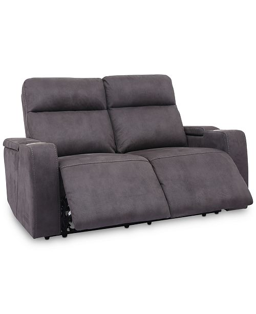 """Furniture CLOSEOUT! Oaklyn 61"""" Fabric Loveseat With 2 Power Recliners, Power Headrests And USB Power Outlet"""