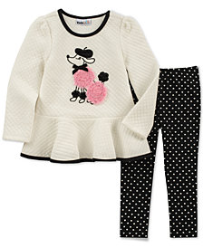 Kids Headquarters Baby Girls 2-Pc. Quilted Poodle Tunic & Heart-Print Leggings Set