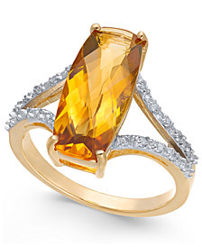 Citrine (3-3/4 ct. t.w.) & Diamond (1/6 ct. t.w.) Ring in 14k Gold