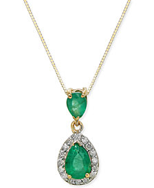 "Emerald (1-1/10 ct. t.w.) & Diamond (1/6 ct. t.w.) 18"" Pendant Necklace in 14k Gold"