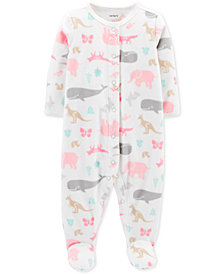 Carter's Baby Girls Animal-Print Footed Coverall